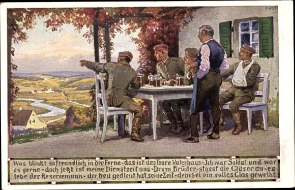 Künstler Ak Hey, Paul, Soldatenliedkarte Nr 6, Was blinkt so freundlich in der Ferne, Novitas 20728