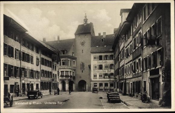 Ak Waldshut Tiengen am Hochrhein, Unteres Tor, Gasthaus Rheinischer Hof