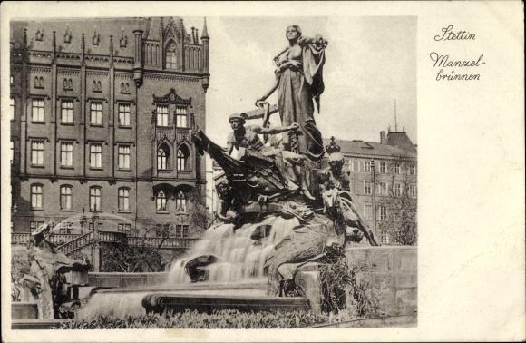Ak Szczecin Stettin Pommern, Manzelbrunnen, Gebäude