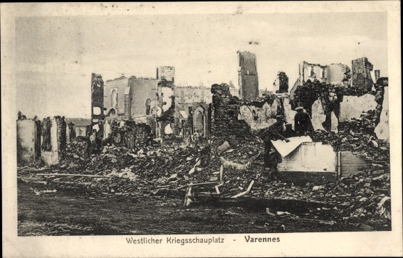 Ak Varennes en Argonne Lothringen Meuse, Kriegszerstörungen, I. WK