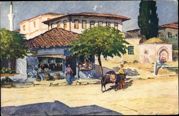Künstler Ak Thessaloniki Griechenland, Rue Kassandra