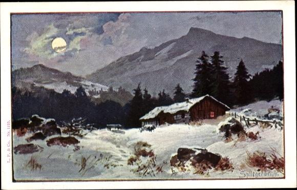 Künstler Ak Splitgerber, Haus im Gebirge bei Nacht, Winter