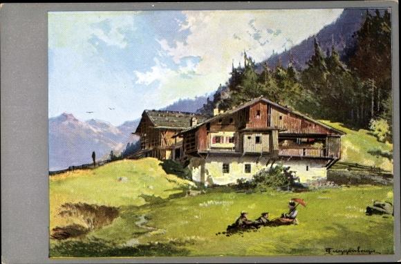 Künstler Ak Guggenberger, Thomas, Bauernhaus