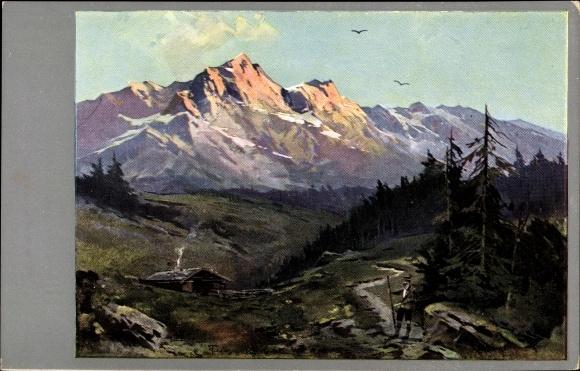 Künstler Ak Guggenberger, Thomas Gebirgslandschaft, Wanderer