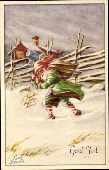 Künstler Ak Nyström, Curt, God Jul, Frohe Weihnachten, Weihnachtsmann