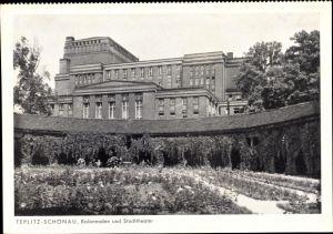 Ak Teplice Teplitz Schönau Reg. Aussig, Kolonnaden, Stadttheater