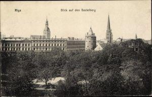 Ak Riga Lettland, Blick auf den Basteiberg