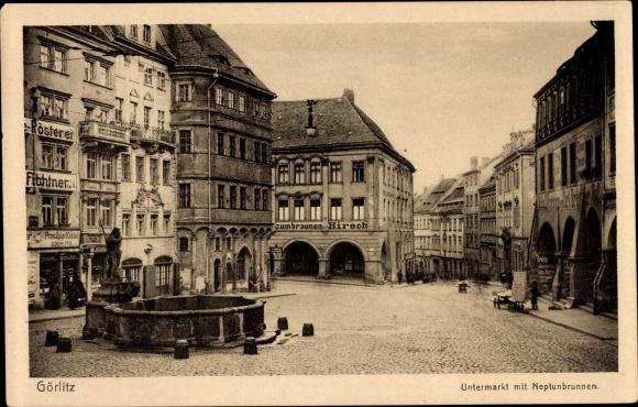 Ak Görlitz in der Lausitz, Untermarkt mit Neptunbrunnen