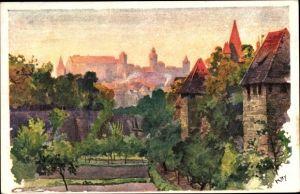 Künstler Ak Kley, H., Nürnberg in Mittelfranken Bayern, Blick vom Spittlertorgraben