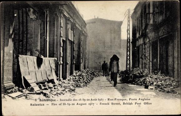 Ak Thessaloniki Griechenland, Incendie 1917, Rue Franque, Poste Anglaise