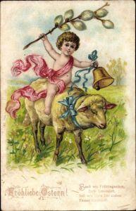 Litho Glückwunsch Ostern, Kind reitet auf Schaf, Glocke, Weidenklätzchen