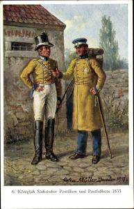 Künstler Ak Müller, Gustav, Königlich Sächsischer Postillion und Postfußbote 1833