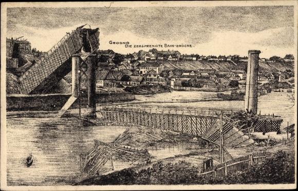 Ak Hrodna Grodno Weißrussland, Zersprengte Bahnbrücke