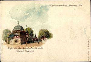 Litho Nürnberg in Mittelfranken Bayern, Kulmbacher Bierhalle, Bayerische Landesausstellung 1896