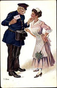 Künstler Ak Row, Fr., Postbote, Dienstmädchen