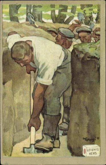 Künstler Ak Georgi, W., Soldaten beim Ausheben eines Schützengrabens, Leibniz Keks