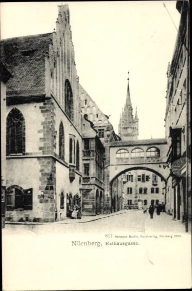 Ak Nürnberg in Mittelfranken Bayern, Rathausgasse