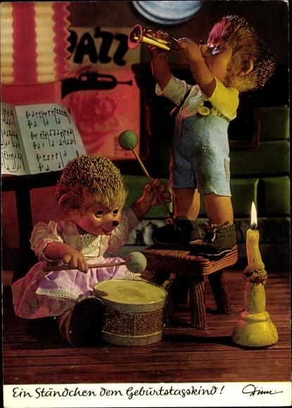 Ak Mecki der Igel, Kinder, Glückwunsch Geburtstag, Musiker, Kerze