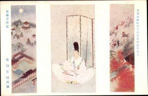 Künstler Ak Japan, Mann in Volkstracht, Tempel, Reiter, brennendes Haus