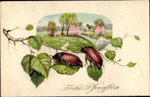 Ak Glückwunsch Pfingsten, Maikäfer, Haus, Zweig, Frühlingslandschaft