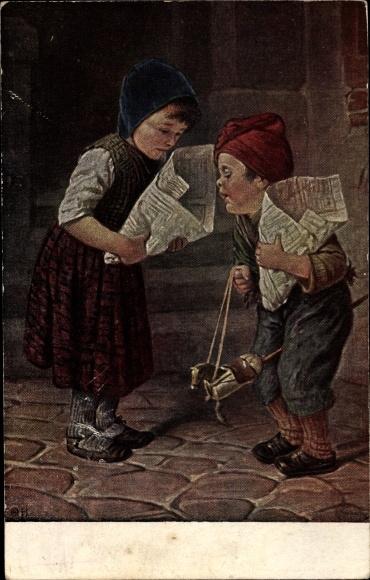 Künstler Ak Kaulbach, H., hast du mehr, Kinder, Papiertüten, Steckenpferd