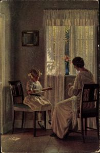 Künstler Ak Broge, Alfr., Wichtige Arbeit, Mutter beim Stricken, Tochter