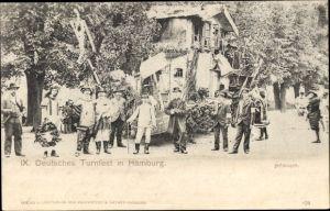 Ak Hamburg Mitte Altstadt, IX. Deutsches Turnfest, Festwagen, Teilnehmer