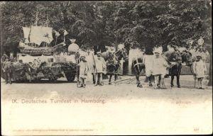 Ak Hamburg Mitte Altstadt, IX. Deutsches Turnfest, Festwagen, Segelschiffminiatur