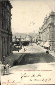 Ak Luzern Stadt Schweiz, Schweizerhofquai und Schwanenplatz