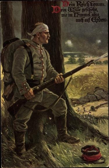 Künstler Ak Das Vaterunser Nr 2, Deutscher Soldat in Uniform, Gewehr, Bajonett