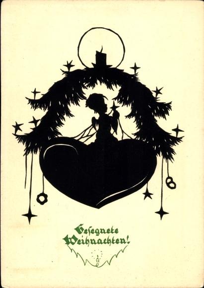 Weihnachten Scherenschnitt.Scherenschnitt Ak Frohe Weihnachten Engel Kerze Sterne