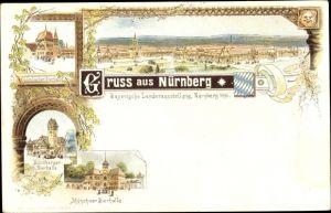 Litho Nürnberg in Mittelfranken Bayern, Bayerische Landesausstellung 1896, Bierhallen