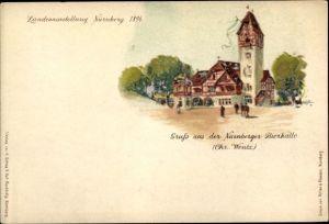 Litho Nürnberg in Mittelfranken Bayern, Bayerische Landesausstellung 1896, Bierhalle
