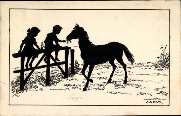 Scherenschnitt Ak Carus, Kinder mit einem Pferd