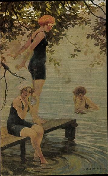 Künstler Ak Borrmeister, R., Im Bade, Frauen an einer Badestelle