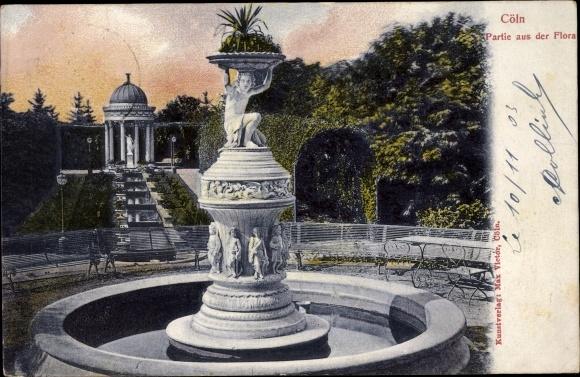 Ak Köln am Rhein, Botanischer Garten, Partie aus der Flora, Brunnen, Statuen, Wassertreppe, Pavillon