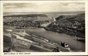 Ak Bingen am Rhein, Panorama vom Ort, Talblick v. d. Rossel, Nahe, Burgruine, Mäuseturm