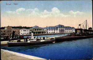 Ak Brijuni Brioni Kroatien, Hafenpartie, Schiffe