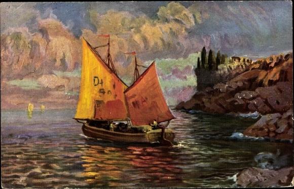 Künstler Ak Segelboot, Fischerboot
