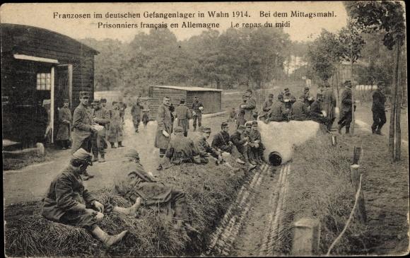 Ak Wahn Köln Nordrhein Westfalen, Franzosen im deutschen Gefangenenlager 1914, Mittagsmahl, I. WK