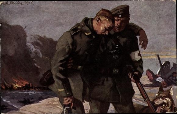 Künstler Ak Sailer, Verwundeter Soldat, Sanitäter, Sanitätshund