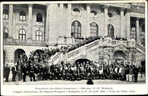 Ak Budapest Ungarn, Congrès international des Sapeurs Pompiers 1904, Palais Royal