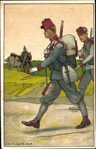 Künstler Ak Koch, Ludwig, Kuk Soldaten in Uniformen, Fez Hüte