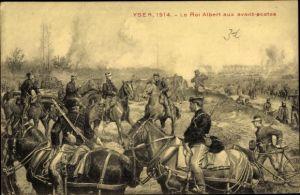 Künstler Ak Yser, Le Roi Albert aux avant postes, König Albert I. von Belgien, I. WK