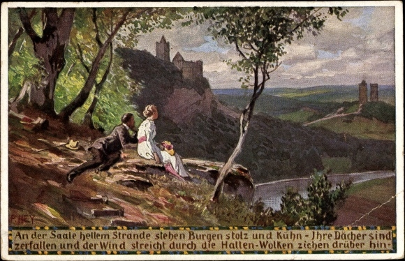 Künstler Ak Hey, Paul, Volksliederkarte Nr. 44, An der Saale hellem Strande