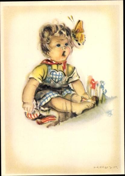Künstler Ak Peyk, Hilla, Kind beobachtet einen Schmetterling