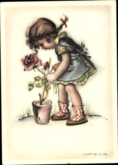 Künstler Ak Peyk, Hilla, Mädchen, Rose im Blumentopf