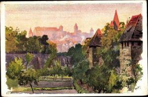 Künstler Ak Kley, Nürnberg in Mittelfranken Bayern, Blick vom Spittlertorgraben