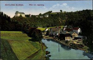 Ak Burgk Saale Orla Kreis, Schloss Burgk, Häuser, Blick vom Jägersteig
