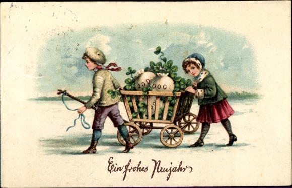 Präge Ak Glückwunsch Neujahr, Kinder, Holzkarren, Geldsäcke, Kleeblätter